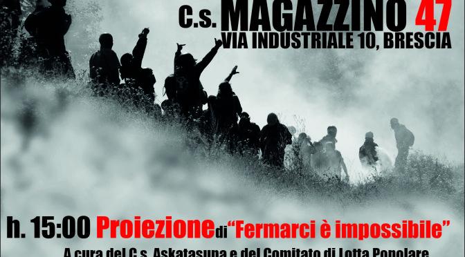 """""""FERMARCI E' IMPOSSIBILE. CRONACA DI UNA LOTTA"""" – Proiezione del video e dibattito sul """"Diritto di Resistenza"""""""