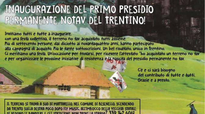 DOMENICA 7 DICEMBRE INAUGURAZIONE DEL PRESIDIO PERMANENTE NO TAV DEL TRENTINO