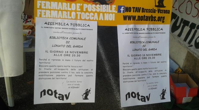 LONATO: MARTEDI 18 NOVEMBRE ASSEMBLEA PUBBLICA NO TAV