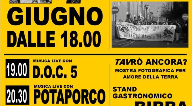 27/6: FESTA NO TAV A CALCINATELLO CON STAND GASTRONOMICI E MUSICA LIVE!