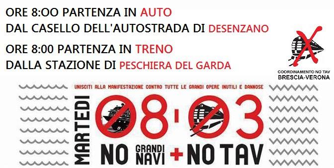 8 marzo – vertice ITALIA/FRANCIA: partenze da Brescia e Peschiera del Garda