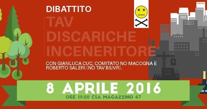 8/04 Dibattito su TAV, discariche e inceneritore a Brescia verso il 10 aprile @ CSA Magazzino 47