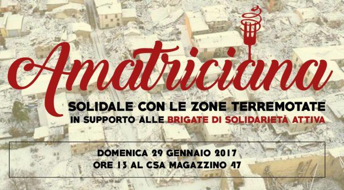 29/1: AMATRICIANA SOLIDALE CON LE ZONE TERREMOTATE IN SUPPORTO ALLE BSA @ BRESCIA