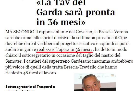 Il TAV Brescia-Verona in 3 anni? E' uno scherzo di carnevale…