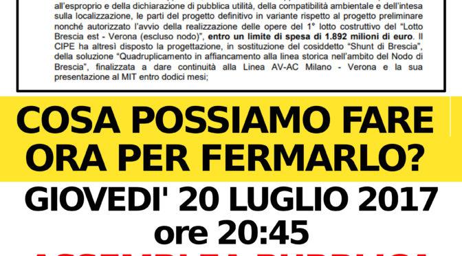 IL TAV BS-VR E' STATO APPROVATO: ASSEMBLEA PUBBLICA  NO TAV GIOVEDI' 20/7 @ CAMPAGNA DI LONATO