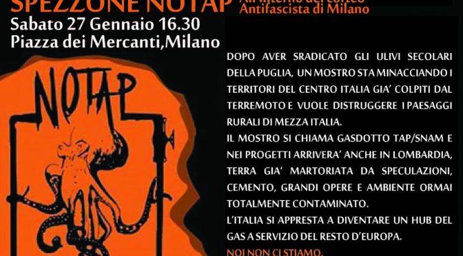 26-27 gennaio arriva la carovana NO TAP a Milano: non facciamoci tap-pare la bocca!