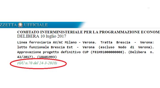 IL PROGETTO TAV BS-VR E' STATO PUBBLICATO IN GAZZETTA UFFICIALE!