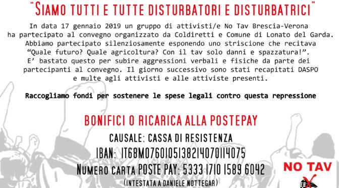 """13 DASPO DA LONATO E MULTE: RACCOLTA FONDI """"SIAMO TUTTI/E DISTURBATORI E DISTURBATRICI"""""""