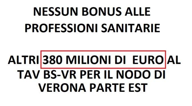 NESSUN BONUS ALLE PROFESSIONI SANITARIE, INVECE SI DANNO 380 MILIONI DI  EURO AL TAV PER IL NODO DI VERONA PARTE EST