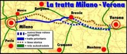 Il percorso dell'Alta Velocità a Brescia