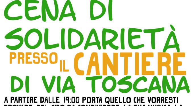 Cena di solidarietà presso il cantiere di via Toscana