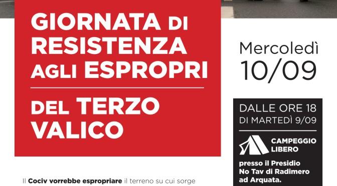 MERCOLEDI 10 SETTEMBRE GIORNATA DI RESISTENZA AGLI ESPROPRI
