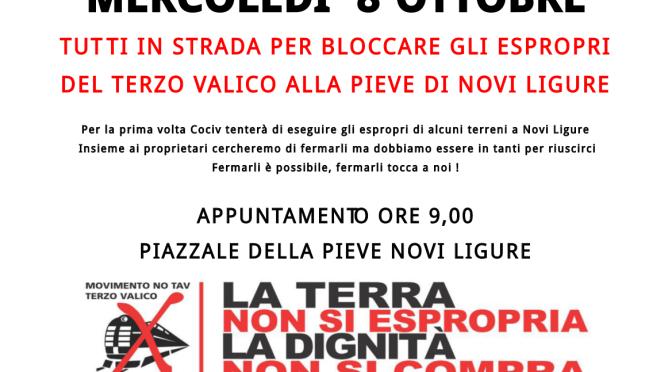 No tav Terzo Valico: Mercoledì 8 ottobre blocco degli espropri alla Pieve di Novi Ligure