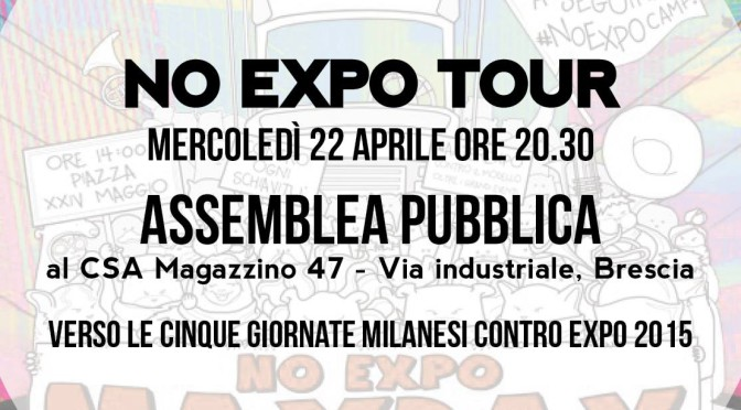 NO EXPO TOUR : MERCOLEDI 22 APRILE ASSEMBLEA PUBBLICA