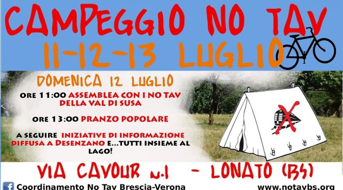 Assemblea pubblica NO TAV al campeggio No Tav di Lonato domenica 12 luglio ore 11:00