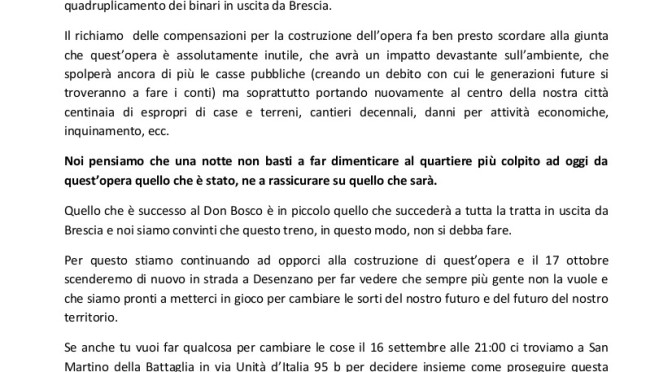 Del Bono non bastano sorrisi e bancarelle per non far sentire soli gli abitanti del Don Bosco, sopratutto mentre progetti di devastare ancora di più la nostra città con la Brescia-Verona!