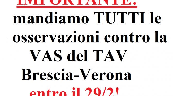 IMPORTANTE: mandiamo TUTTI le osservazioni contro la VAS del TAV Brescia-Verona entro il 29/2!