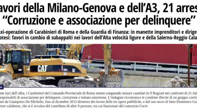 14 arresti per corruzione nei lavori per la costruzione del TAV Terzo Valico (Genova-Milano)