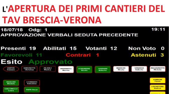 A LONATO IL CONSIGLIO COMUNALE HA APPROVATO L'APERTURA DEI PRIMI CANTIERI TAV BS-VR!