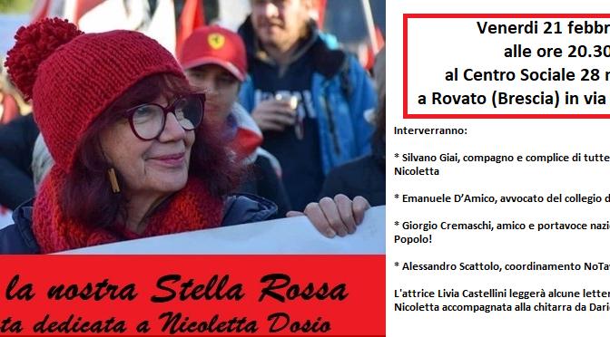 21/02 @ c.s. 28 maggio di Rovato – serata su Nicoletta Dosio